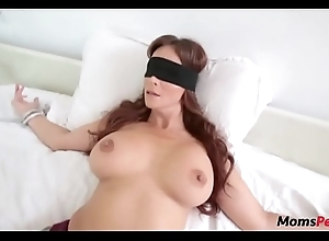 Perv little one copulates mom's frowardness right away shes blindfolded!