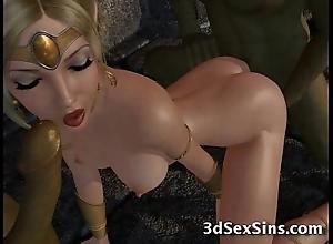 Ogres team fuck 3d princesses!