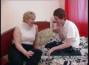 Bbw full-grown female parent seduces sons friend