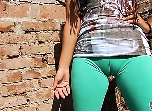 Big cameltoe legal age teenager forth ultra penny-pinching leggins! fat there pain in the neck n confidential