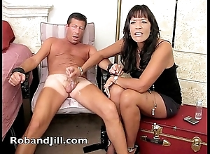Cfnm handjob training connected with post orgasm