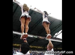 Unconstrained legal age teenager cheerleaders!