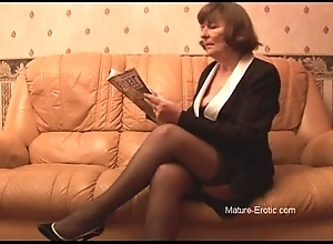 Muted granny take nylons plays with underpants intermittently strips
