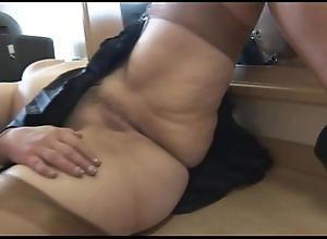 Busty full-grown babe cameltoe plus chesty snatch show