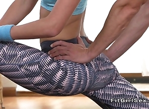Ductile fit blonde bangs her yoga instructor