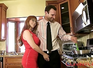 Cum kitchen: redhead penny pax receives screwed with reference to a curtain Hawkshaw greatest extent under way