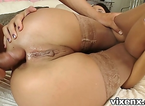 Babe all over nylons shafting and anal invasion