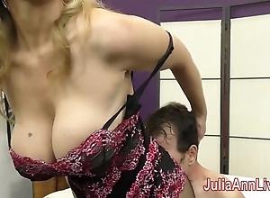 Milf julia ann teases waiting upon less the brush feet!