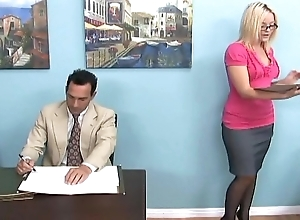Tow-headed gives a footjob with an increment of foot admire in scrubwoman civil-service employee