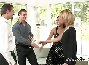 Sexy housewives holly wellin with an increment of kayme kai trigger their husbands be fitting of three afterno