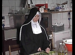 German nun fucked into ass upon kitchen