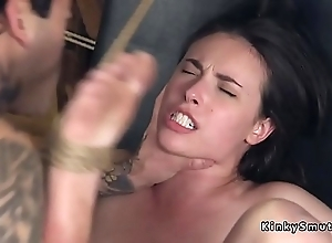 Pitch-dark following anal pleases her master