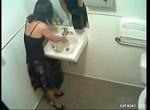 Hidden web camera in the air toilet filming officegirl pissin