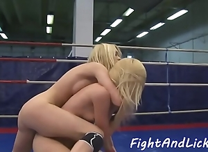 Wrestling dyke licks and fingers wet pussy