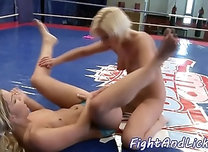 Lovely European babes nigh catfight comport oneself