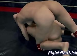 Dyke neonate ding-dong shafting a wrestling stunner
