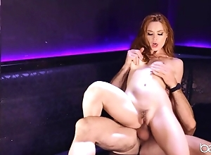 Surprising redhead round perky soul rides blarney and moans